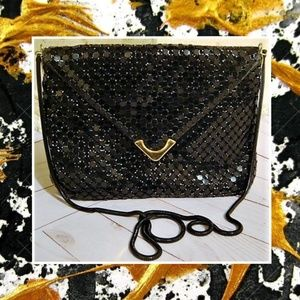 Vintage Lyrella Black Metal Mesh/ Leather Purse